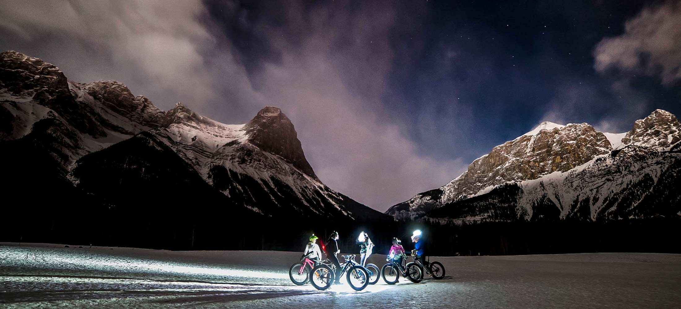 Night time winter bike ride in Canmore, Alberta