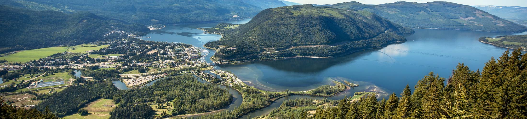 The Sicamous lookout over looking the Sicamous townsite and Shuswap Lake