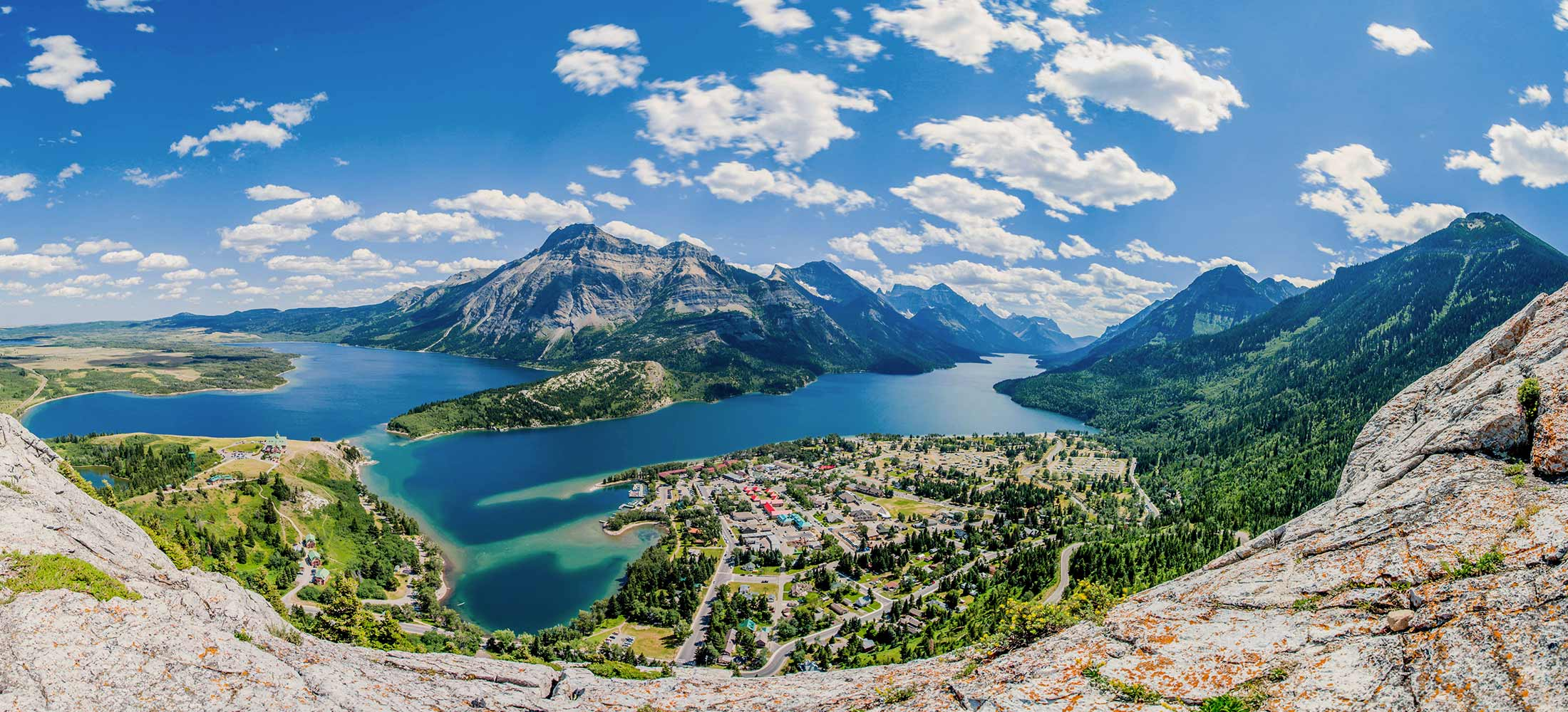 The Waterton townsite from Bears Hump in Waterton National Park, Alberta